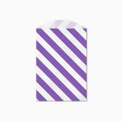 25 Purple and White Diagonal Stripe Little Bitty Bags 7cm X 10cm