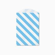 25 Blue and White Diagonal Stripe Little Bitty Bags 7cm X 10cm