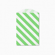 25 Green and White Diagonal Stripe Little Bitty Bags 7cm X 10cm