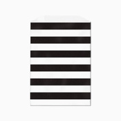 Black Horizontal Stripes on White Middy Flat Paper Bags 13cm X 19cm Set of 25, Made in USA