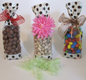 Designer Cream & Chocolate Dots Cello Bags