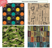 Premium Birthday or All Occasion Gift Wrap Heavy Weight Tools Camo Nestalgia Records Gloss Finish Wrapping Paper for Mens Manly Man 4 Different Designs of 1.5m X 80cm Rolls / Per Pack Set Included!