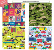Premium Birthday or All Occasion Gift Wrap Heavy Weight Gloss Finish Wrapping Paper for Boys, Kids, Camo, Men 4 Different Designs of 1.5m X 80cm Rolls / Per Pack Set Included!