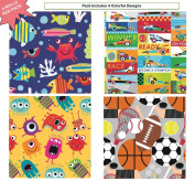 Premium Birthday or All Occasion Gift Wrap Heavy Weight Gloss Finish Wrapping Paper for Girls, Boys, Kids, Sports 4 Different Designs of 1.5m X 80cm Rolls / Per Pack Set Included!