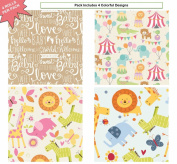 Premium Baby Shower Gift Wrap Heavy Weight Safari Gloss Finish Wrapping Paper for Girl, Boy Couple 4 Different Designs of 1.5m X 80cm Rolls / Per Pack Set Included!