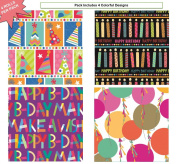Premium Birthday or All Occasion Gift Wrap Heavy Weight Candle Conga Party Hat Gloss Finish Wrapping Paper for Women, Men, Boys, Girls, Kids 4 Different Designs of 1.5m X 80cm Rolls / Per Pack Set Included!