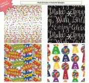 Premium Birthday or All Occasion Gift Wrap Heavy Weight Gloss Finish Wrapping Paper for Women, Men, Boys, Girls, Kids 4 Different Designs of 1.5m X 80cm Rolls / Per Pack Set Included!