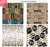 Premium Birthday or All Occasion Gift Wrap Heavy Weight Congrats, Happy Birthday, Dots, Graduation, Best Wishes Gloss Finish Wrapping Paper for Women, Men, Boys, Girls, Kids 4 Different Designs of 1.5m X 80cm Rolls / Per Pack Set Included!