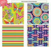 Premium Birthday or All Occasion Gift Wrap Heavy Weight Butterfly, Dragon, Stripes, & Flowers Gloss Finish Wrapping Paper for Women, Girls, Kids 4 Different Designs of 1.5m X 80cm Rolls / Per Pack Set Included!