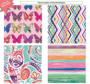 Premium Birthday or All Occasion Gift Wrap Heavy Weight Butterfly, Stripes and Designs Gloss Finish Wrapping Paper for Women, Girls, Kids 4 Different Designs of 1.5m X 80cm Rolls / Per Pack Set Included!