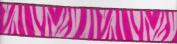3.8cm Flocked Zebra Ribbon - Pink - 2 Yards