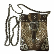 Rhinestone Buckle Embroidered Purse Handbag and Optional Mini Messenger Bag, Wallet in Brown
