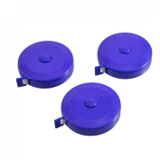 Blue Round Case Automatic Retractable Sewing Tape Measure 150cm 60 Inches 3pcs