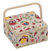 Hobby Gift Owl Design Sewing Box on Natural Small