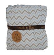 Zack & Tara Crib Skirt - Chic Chevrons in Blue & Grey