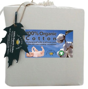 100% Organic Cotton, Quilted, Waterproof Crib Mattress Pad Protector; with soft cotton wool wadding filler & cotton skirt. Read our reviews to see this is the best cot mattress cover for baby's nursery. Fits foam or portable crib mattress also.