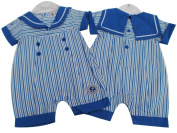 BNWT baby boys blue and white stripey summer sailor suit romper