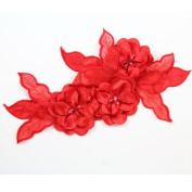 Beads4crafts 1 Red Applique Embellishment With Crystals Sew On Bridesmaid 285X140Mm Hl1038