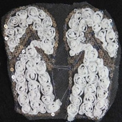 Beads4crafts 1 White & Silver Applique Embellishment Sew On Top Dressmaking 16X16Cm Hl473