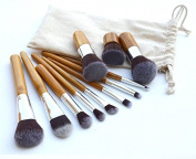 Party Queen 11pcs Bamboo Handle Makeup Brushes Set Cosmetic Eyeshadow Foundation Concealer Eyebrow Brush Tools With Bag