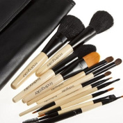 12 PCS RPO Foundation Makeup Tools Wooden Handle Professional Makeup Brushes +Black Case