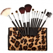 12PCS Pro Makeup Brush Super Soft Concealer Eyeshadow Brushes Cosmetic Powder Tool Kit + Leopard Case