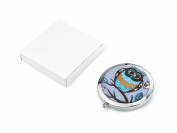 LADIES BEAUTIFUL OWL FABRIC PRINT ROUND SHAPE COMPACT HANDBAG MIRROR ONE NORMAL MIRROR AND ONE MAGNIfYIN