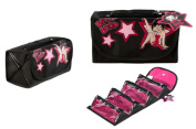 Betty Boop Women's Black Travel Roll Up Foldable 4 Section Make Up Bag Black