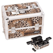Justcaseusa Brown Interchangable 8-Tiers Extendable Tray Leopard Textured Printing Prifessional Aluminium Cosmetic Makeup Case With Multiple Compartment - E3306.