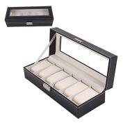 Chinatera Black PU Leather 6 Mens Watch Box Display Jewellery Case Organiser Storage
