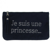 Clutch Bag Blue Navy Suede Embroidered Je suis une Princesse