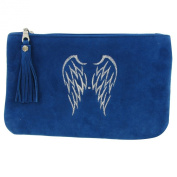 Suede Pouch Bag Embroidered Two Angel Wings Blue Sea Colour