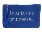 Clutch Bag Hard Blue Suede Embroidered Je suis une Princesse