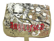 NEW UNISEX AMPLIFIED SAINTS & SINNERS SKULL DESIGN CANVAS BAG - KHAKI / RED
