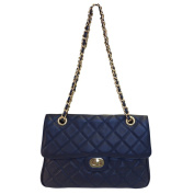 Carbotti Designer Quilted Leather Shoulder Handbag - Blue