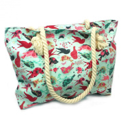 Birds / Nautical Stripe / Owl / Butterfly Print Medium Canvas Beach Shopper Bag