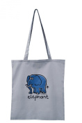 'Elephant' Grey Cotton Tote bag