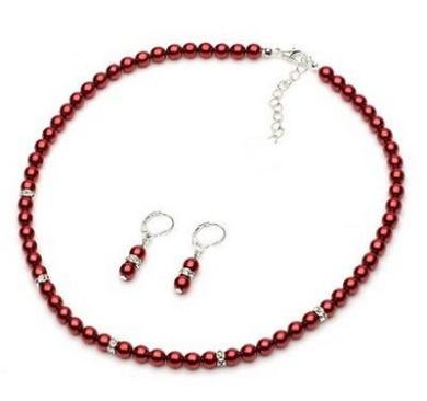 Burgundy Wine Red Pearls Jewellery Set Choker Necklace Drop Earrings S731