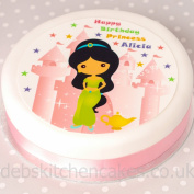 """Princess And Palace Princess Cake Topper 7.5"""" (19cm) Round Choose From Edible Icing Or Edible Wafer"""