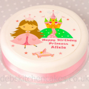 """Princess Cake Topper 7.5"""" (19cm) Round Choose From Edible Icing Or Edible Wafer"""