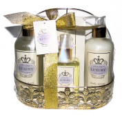 Orchid Bath Spa Set Gift Set. Vanilla Bubble Bath, Body Lotion, Bath Salt, Body Essence & Wire Basket Shower Holder