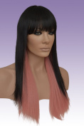 Hollywood_hair4u - Long 1B Black and Pink Razored Wig Kanekalon Heat Resistant Synthetic Fibre Wig with Skin Top *NEW*