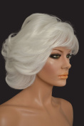 Short Layered white Wig with Bangs and Packed Roots Kanekalon New