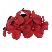 Jewelry_Awesome Red Boutique Girls Fabric Flower with Pearl Hair Clip