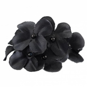 Jewelry_Awesome Black Boutique Girls Fabric Flower with Pearl Hair Clip