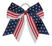 "New ""STAR SPANGLED BANNER"" Cheer Hair Bow Pony Tail 7.6cm Ribbon Cheerleading Practise Football Games Uniform Hairbow 4th of July Patriotic"