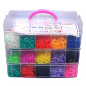 Colourful Gifts 7500pcs Fun Rubber Loom Bands Box Set Make Rubber Band Diy Loom Charms Bracelet Silicone Kit Refill