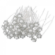 Jewelry_Awesome 40pcs Silver Plated Pearl Crystal Hair Clips Hairpins Bridal Prom Wedding Prom Clips