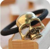 kathy Store INC 1pc Bronze Stereoscopic Metallic Skull Ponytail Gothic Punk Hair Ring Tie Holder Band