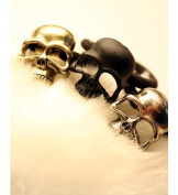 kathy Store INC 3pcs colourful Stereoscopic Metallic Skull Ponytail Gothic Punk Hair Ring Tie Holder Band